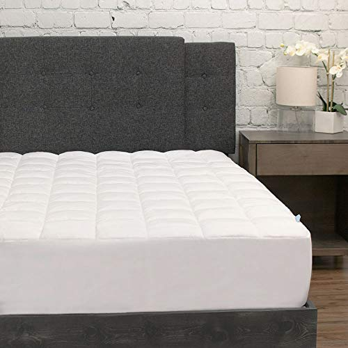 eLuxurySupply Pillowtop Mattress Pad w/Deep Pocket Fitted Skirt - Premium Microfiber Mattress Cover - Down Alternative Topper with Anti Allergen Bed Protection - Twin XL Size
