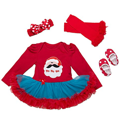 [Baby Girls Christmas Tutu Romper Dress Headband 4PCS Party Outfits Set (L (6-12 Months), Santa] (Cute Santa Outfits)