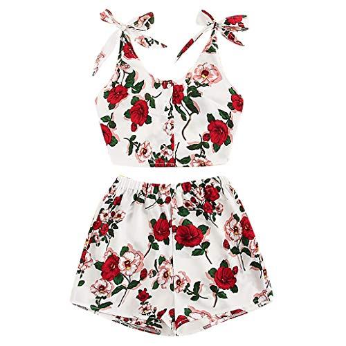 Women Sets,Summer 2 Piece Outfits Floral Boho Crop Top + Ruffle Trim Shorts Set, Tie Back Casual Jumpsuit Romper White ()