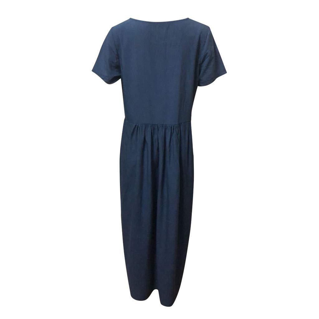 Sharemen Summer Women's Fashion Pure Colour Round Neck Simple Long Dresses(Navy,XL)