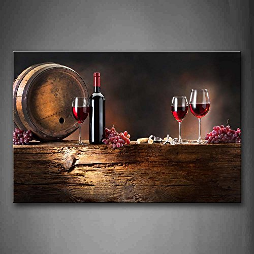 Brown Art Decor (Brown Wine With Grapes And Barrel. Wall Art Painting The Picture Print On Canvas Food Pictures For Home Decor Decoration Gift)