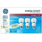 GE Energy Smart 13 Watt Soft White Compact Fluorescent T2 Light Bulbs 3 Pack (CFL equivalent to standard 60 watt bulbs)