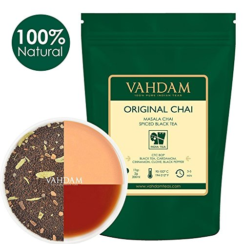 India's Original Masala Chai Tea Loose Leaf - 100 cups, 7oz - Perfect Blend of Black Tea, Cinnamon, Cardamom, Cloves & Black Pepper - Ancient Indian House Recipe of Spiced Chai Tea - Chai Latte Suited