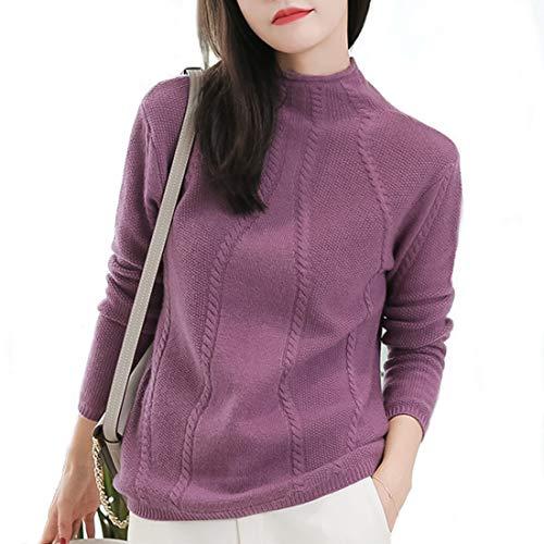Con Calda Alto A xl Cashmere Manica Purple Taglia Mallty Da Maglia Lunga Spessa In Collo Donna M vW48x