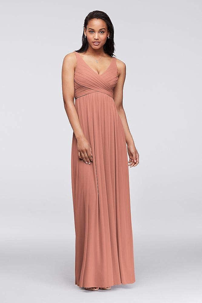 David's Bridal Long Mesh Bridesmaid Dress with Cowl Back Detail Style F15933