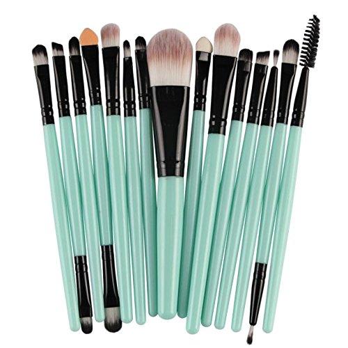 Baomabao 15 pcs Make Up Brush Set Wool tools Make-up Toiletry Kit (Black) (Skull Makeup Kit)
