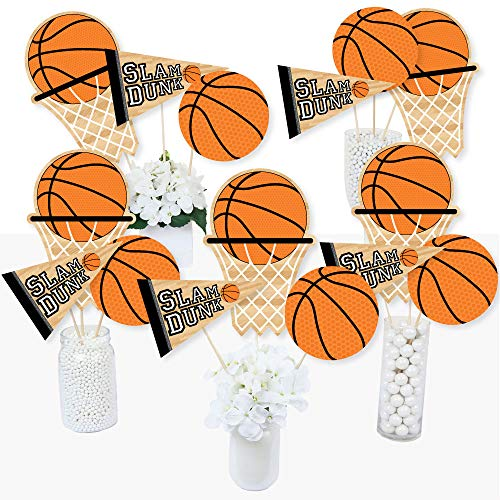Nothin' But Net - Basketball - Baby Shower or Birthday Party Centerpiece Sticks - Table Toppers - Set of 15