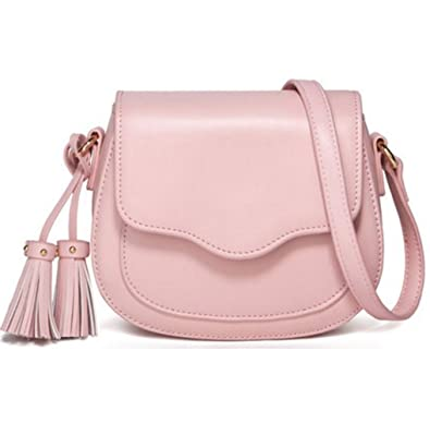 a071eb6a3a08 JeHouze Fashion Women Genuine Leather Crossbody Handbag Gold Chain Metal  Strap Purse (Pink)