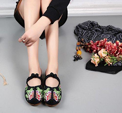 DESY Gestickte Schuhe, Sehnensohle, ethnischer Stil, weiblicher Flip Flop, Mode, bequeme, lässige Sandalen Black