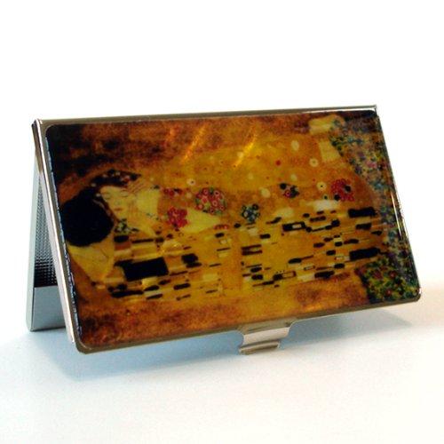 Mother of Pearl Baiser de Gustav Klimt Art Peinture Design Business crédit Nom Carte d'identité Support en métal en acier inoxydable gravé slim Sac à main poche monnaie Portefeuille Argent