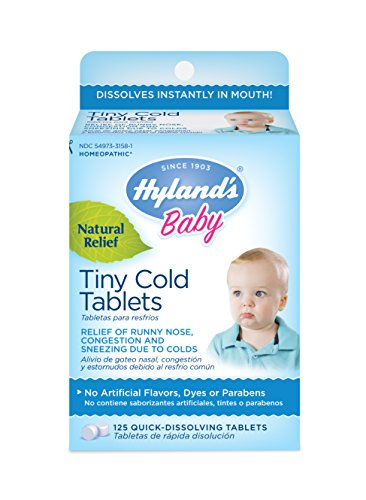 - Hyland's Baby Tiny Cold Tablets, Natural Relief of Runny Nose, Congestion, and Occasional Sleeplessness Due to Colds, 125 Quick-Dissolving Tablets