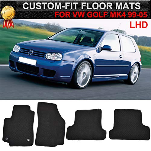 AUTOXBERT Custom Nylon Car Floor Mats Carpets Liners Fits for VW Golf MK4 Jetta MK4 1J 1999-2005 Replacement Fitment Front Rear LHD All Models ()