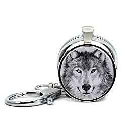 Handmade Keychain Older Wolf Charm Pendant Car Circle Key Rings Gift Bag Hanging Buckle