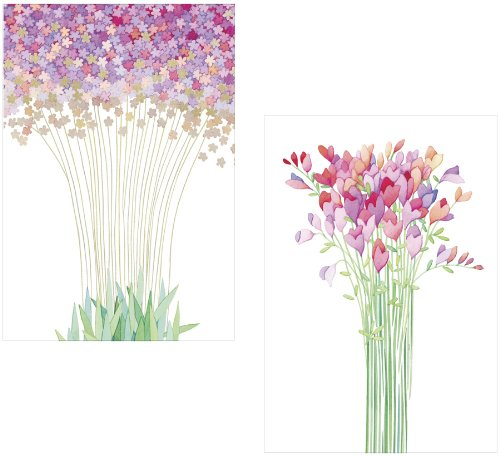 Caspari Blank Notecards with Envelopes, Modern Bouquets, Pack of 8 Caspari Inc 82625.45