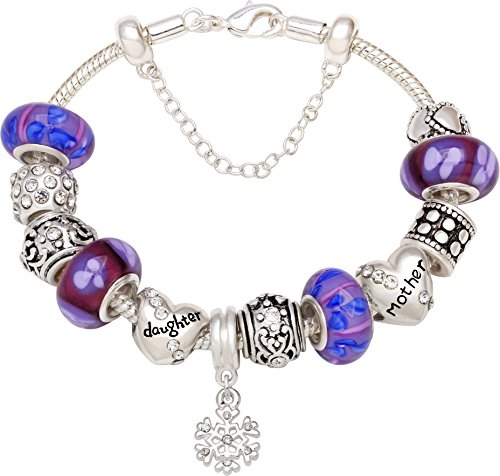 Daughter Silver tone Bead Charm Bracelet