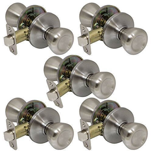 Classic Passage Hallway Closet Door Knobs Handles, Satin Nickel (Silver Door Knob)