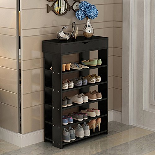 5-Tier Shoe Rack Organizer, Entryway Shoe Cabinet Storage Rack with Storage Cabinet (Black) - Drawer Shoe Cabinet