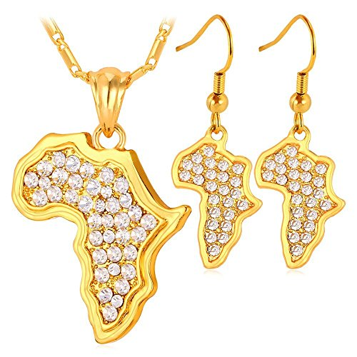 U7 Women Party Wedding Jewelry Set 18K Gold Plated African Style Jewelry Africa Map Design Rhinestone Crystal Drop Earrings Necklace by U7