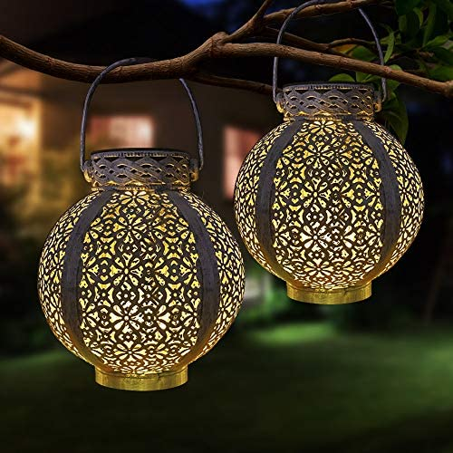 Hanging Solar Lanterns Outdoor – Pearlstar Vintage Solar Powered Metal Table Lamps Lights with Warm Light 6 Lumens, Great Decor for Garden, Patio, Pathway, 2 Pack