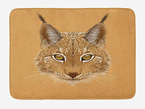 (Animal Bath Mat, Lynx Cat Portrait with Sharp Eyes Angry Wildlife Creature Tropical Kitty Graphic, Plush Bathroom Decor Mat with Non Slip Backing, 23.6 W X 15.7 W Inches, Pale Brown)