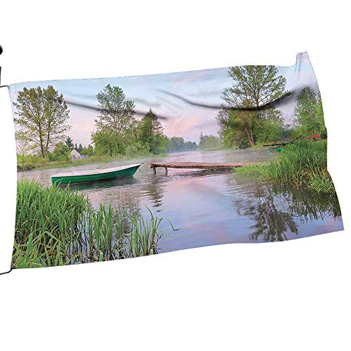 painting-home Garden Flag Arbor Stand Rural L Scape Lak IDE Boat Grass Clouds Boardwalk Countryside Green Flower Yard Decor10 x 15