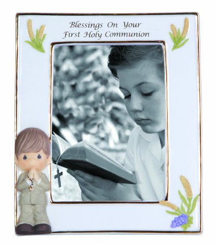 Precious Moments,  Blessings On Your First Holy Communion, Boy, Bisque Porcelain Photo Frame, 123411