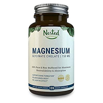 MAGNESIUM GLYCINATE CHELATE 150mg | 120 Non-Laxative, High Absorption Vegan Capsules | Bioavailable Caps For Tension, Muscle Cramps, Stress Relief & Sleep | Non GMO Chelated Bisglycinate Supplement