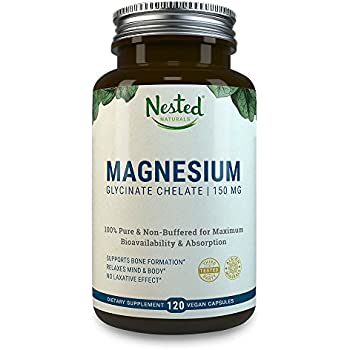 MAGNESIUM GLYCINATE CHELATE 150mg   120 Non-Laxative, High Absorption Vegan Capsules   Bioavailable Caps For Tension, Muscle Cramps, Stress Relief & Sleep   Non GMO Chelated Bisglycinate Supplement