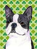 Caroline's Treasures SS4447CHF Boston Terrier St. Patrick's Day Shamrock Portrait Canvas House Flag, Large, Multicolor