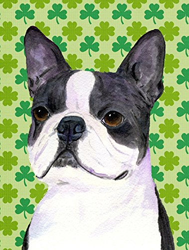 Cheap Caroline's Treasures SS4447CHF Boston Terrier St. Patrick's Day Shamrock Portrait Canvas House Flag, Large, Multicolor