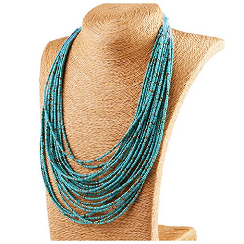 Bead Collar Turquoise - Inkach Bohemian Style Hand-Beaded Cluster Multilayer Pendant Beads Collar Choker Necklace Jewelry for women Girls (Blue)
