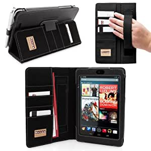 Snugg Nexus 7 Case - Executive Smart Cover With Card Slots & Lifetime Guarantee (Black Leather) for Google Nexus 7