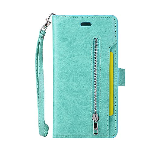 - iPhone 6S Plus Case, iPhone 6 Plus Case, Folice Zipper Wallet Case [Magnetic Closure]& 9 Card Slots, PU Leather Kickstand Wallet Cover Durable Flip Case for Apple iPhone 6S & 6 Plus (Mint Green)