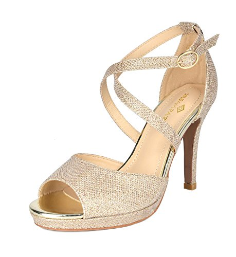 Heeled 10 GOLD Fashion Stilettos Sandals GAL Women's DREAM PAIRS GLITTER aqv1XWP