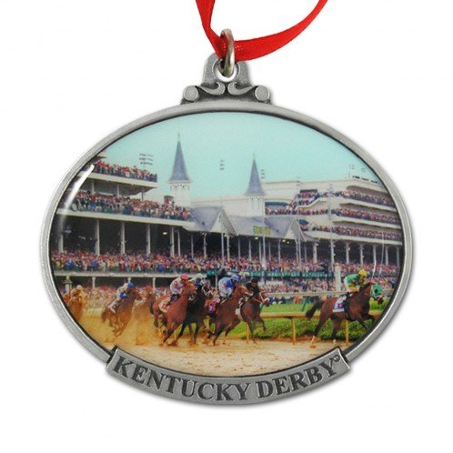 Indiana Metal Craft Kentucky Derby First Turn Color Pewter Ornament. KOR207 IMC-Retail -