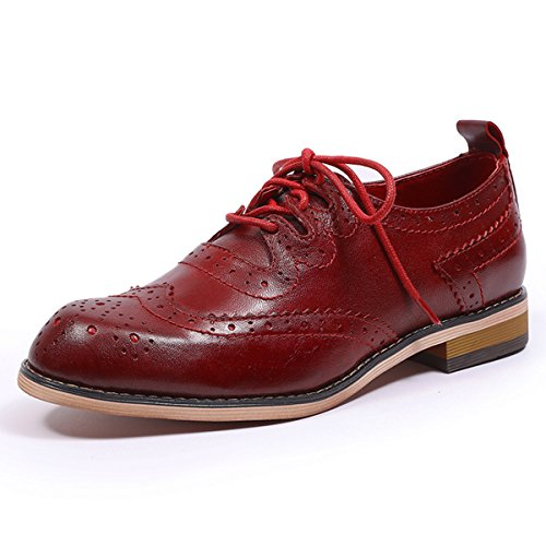 Shoe Womens Gloss Red (Mona flying Womens Leather Lace-up Dress Oxfords Derby Shoes for Womens Ladies)