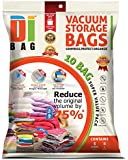 DIBAG ® 10 Bags Pack 5X(130x74 cm) + 5X(86x50 cm) Vacuum Compressed Storage Space Saver Bags for Clothing, Duvets, Bedding, Pillows, Curtains & More.