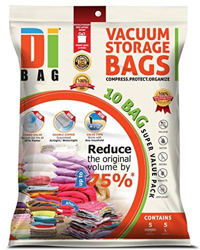 DIBAG ® 10 tlg Set- Vacuum komprimierte Speicherung platzsparend Beutel. 5 Beutel : 74 x 130 cm + 5 Beutel: 50 x 86 cm , für Kleidung, Bettdecken, Bettwäsche, Kissen, Vorhänge und vieles mehr.