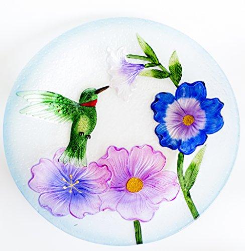 Beautiful Glass Hummingbird Bird Bath - Perfect 19 Inch S...