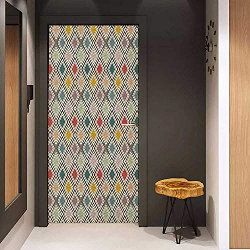(Onefzc Automatic Door Sticker Vintage Abstract Colorful Squares with Little Dots Inside Diagonal Checkered Retro Pattern Easy-to-Clean, Durable W17.1 x H78.7)