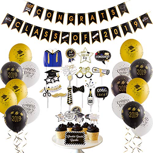 2019 Graduation Party Decorations Graduation Photo Booth Props Class of 2019 Congrats Banner Cake Toppers Latex Balloons College Graduation Decorations Easy Joy (Black White Gold - Easy Cake Decoration