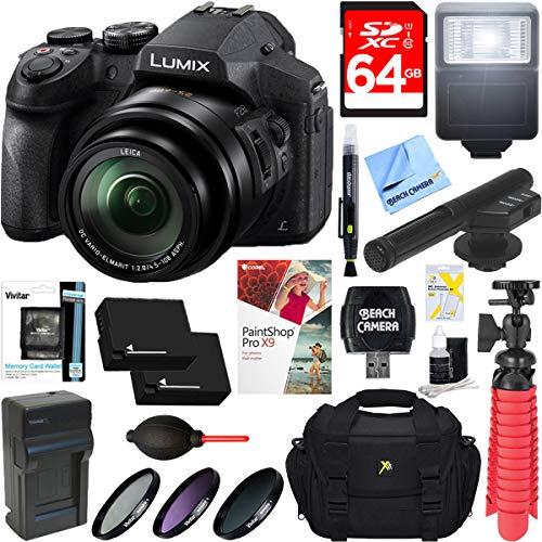 Panasonic DMC-FZ300K LUMIX FZ300 4K 24X F2.8 Long Zoom Digital Camera (Black) + Dual Battery Accessory Bundle
