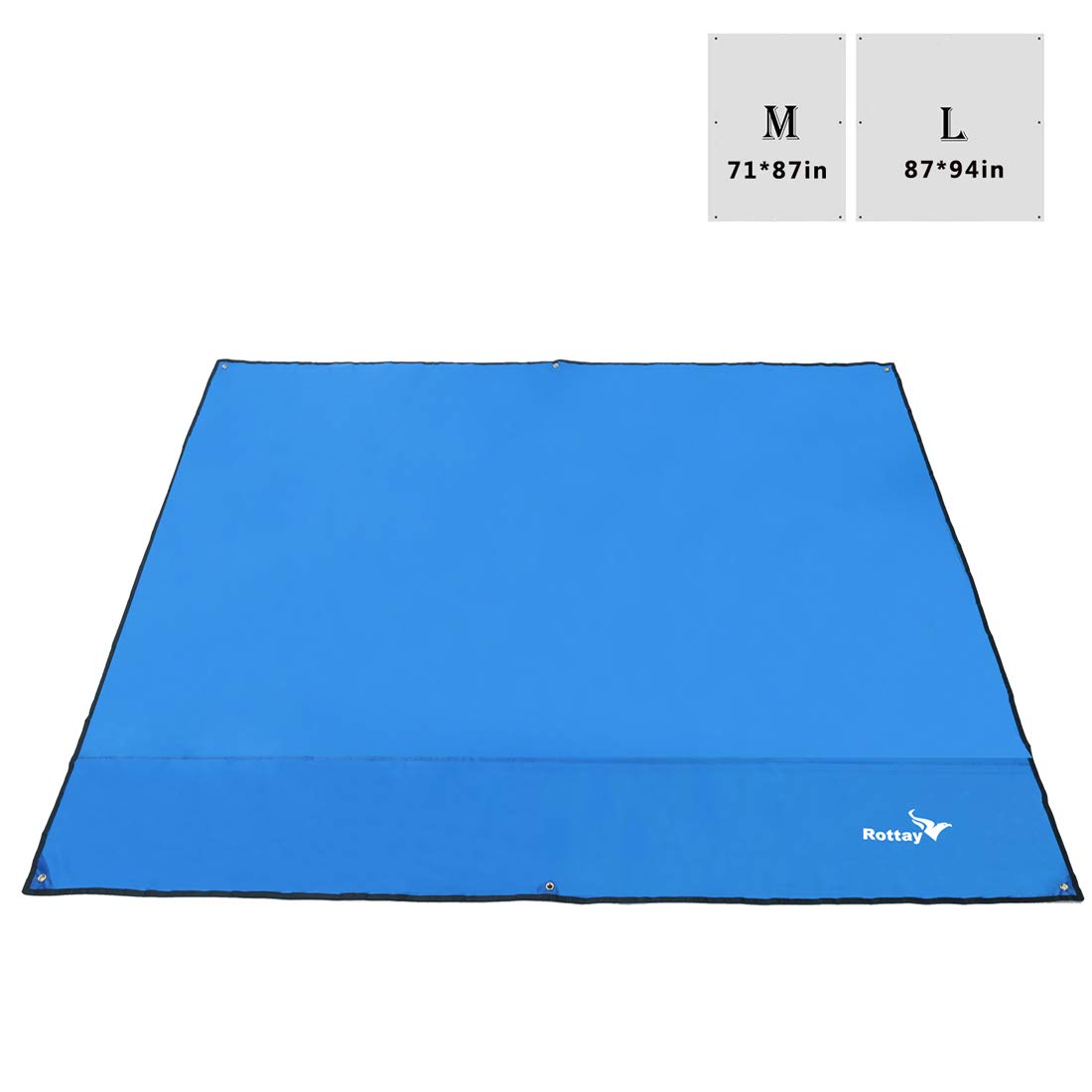 Rottay Waterproof Camping Tarp, Picnic and Beach Mat,Tent Footprint, and Sunshade,Hiking (Blue 87'' x 94'') by Rottay