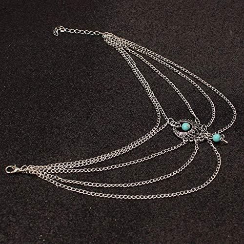 1 pieza mujer Tobillera Boho Blossom pulsera bohemia plata y turquesa
