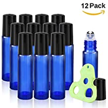 Olilia Glass Roll on Bottles with Metal Roller Balls, Essential Oils Opener included 12 Pack of 10ml(1/3oz) (Blue)