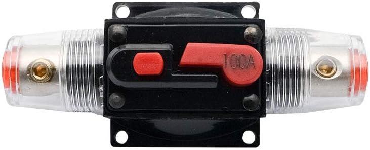 100 Amp Circuit Breaker with Manual Reset SUNWAN 12V-24V DC Car Audio Inline Circuit Breaker Fuse Block for Auto Motor Car Marine Boat Audio Solar Inverter System Protection