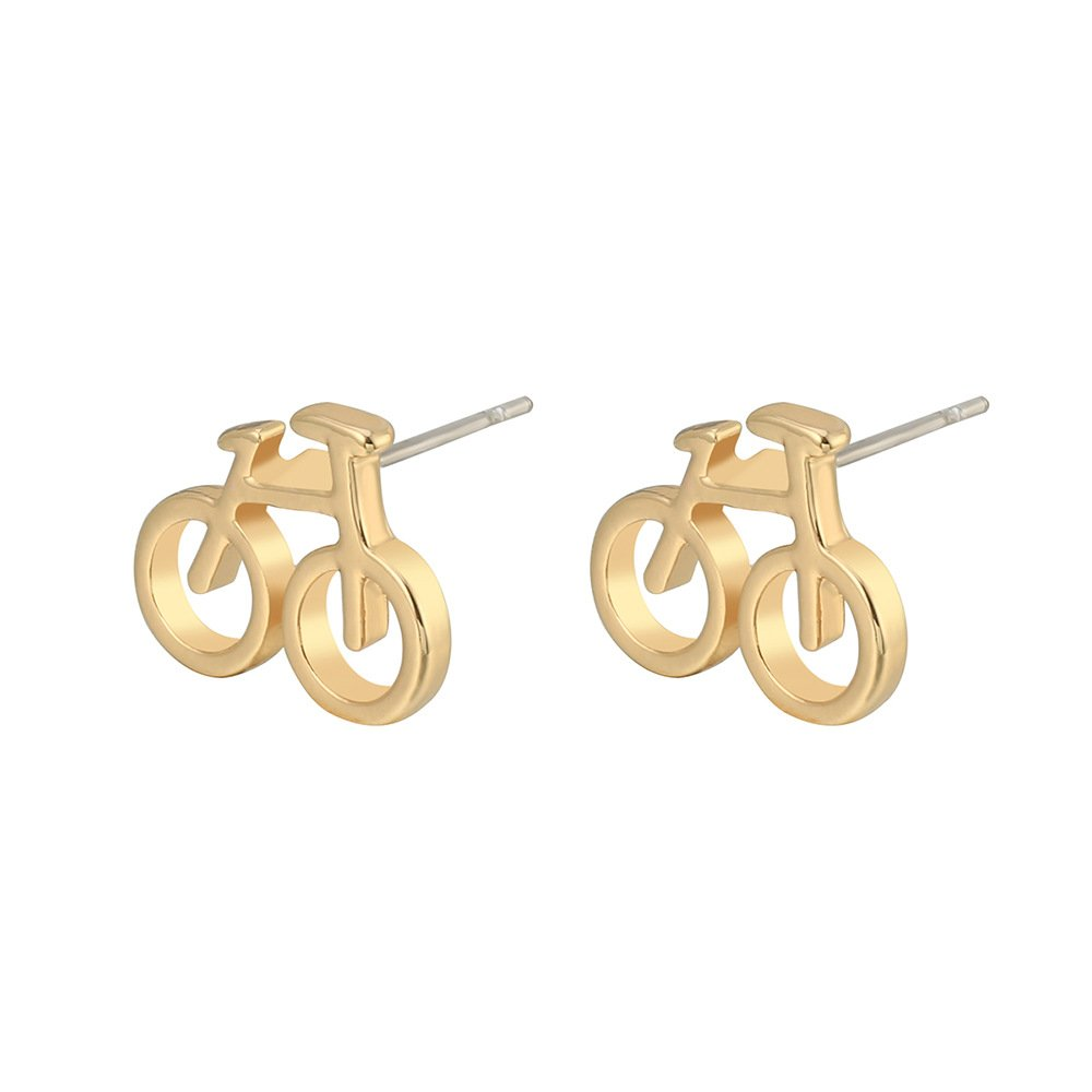 Stud Earrings for Women,Bicycle Earring Studs Girls Gold Silver Dangle Earring Stainless Steel Earring PJ-EH-0571