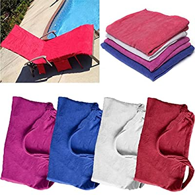 KING DO WAY Lounge Chair Beach Towel Cover Microfiber Pool Lounge Chair Cover with Pockets Holidays Sunbathing Quick Drying Terry Towels 82.5''x27.5''