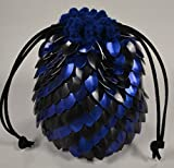 Knitted Dragonhide Dice Bag of Holding - Blue and Black