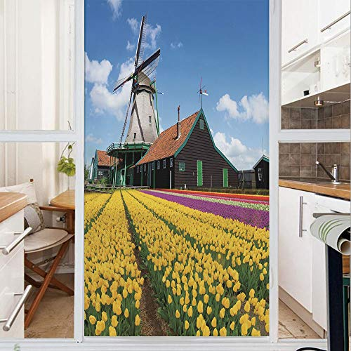 Decorative Window Film,No Glue Frosted Privacy Film,Stained Glass Door Film,Rustic Dutch Landscape with Colorful Yellow Tulips European Countryside Decorative,for Home & Office,23.6In. by 59In Multico